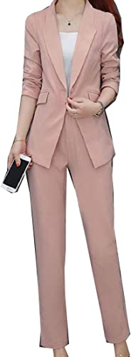 Andopa Bouton Regular Fit travail de bureau Blazer + Notch Lapel Set pantalon long Pour Femme