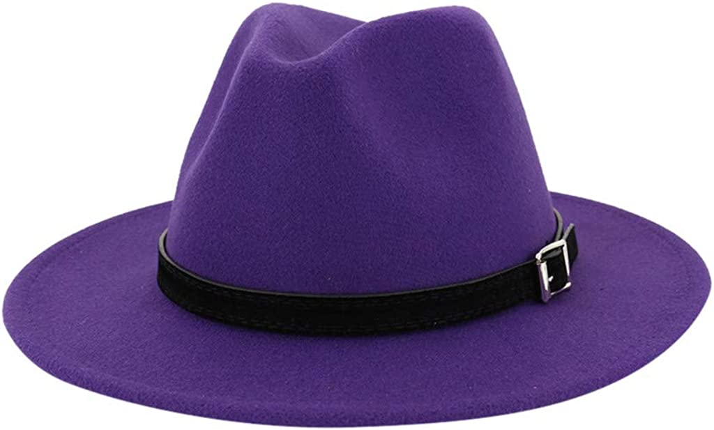 general3 Men & Women Vintage Wide Brim Fedora Hat with Belt Buckle Cap