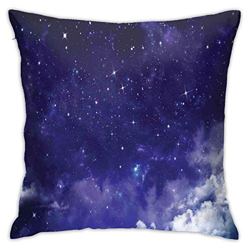 Home Pillowcase Space Dreamy Night with Stars Clouds Comets Ethereal Evening Surreal Calm Scene Theme Picture Purple White Decor Throw Pillow Cushion Cover with 18 X 18 Inches