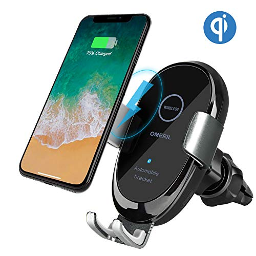 OMERIL Caricatore Wireless Auto, IR Ricarica Wireless da Auto QI Supporto 10W/7.5W/5W per iPhone XR/XS Max/XS/X/8, Samsung Galaxy S9/S9+/S8/S7/Note 8, Huawei Mate 20 Pro/P30 Pro, Xiaomi Mix 2S e Alt