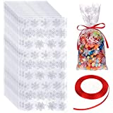 100 Pieces Cellophane Treat Bags Halloween Christmas Party Treat Bags Plastic OPP Candy Bags with Ribbon for Halloween Christmas Party Supplies (White Bag with Red Ribbon)
