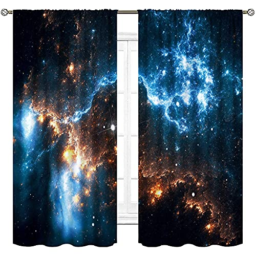Cinbloo Nebula Galaxy Curtains Kids Rod Pocket 42(W) x 63(L) Inch Outer Space Wall Art Planet Night Starry Sky Bedroom Decor Boys Star Universe Fantasy Art Printed Living Room Window Drapes 2 Panels