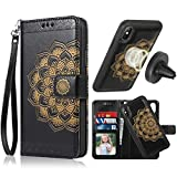 iPhone X/XS Case,iPhone X/XS Wallet Case with Detachable Slim Case,Card Solt Holder,Fit Car Mount,CASEOWL Mandala Flower Floral Embossed Leather Flip Lanyard Wallet Case for iPhone X/XS/10/10S[Black]