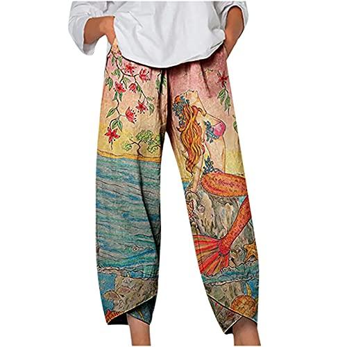 Women's Baggy Cotton Linen Capri Pants Elastic Waist Vinatge Print Y2K Cropped Wide Leg Pants Harem Trousers with Pocket