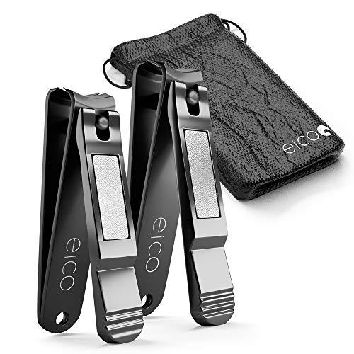 Eico Nagelknipser 2er Set - Extra scharfe Premium Nagelzwicker aus Edelstahl mit integrierter Nagelfeile und Tasche – rostfrei - Für Finger- und Zehennägel - auch Linkshänder geeignet