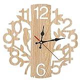 Wifehelper Horloge Murale Arbre en Forme avec Oiseau Horloge Murale en Bois Horloge décorative Vintage pour la Maison Salon Cuisine(1#)