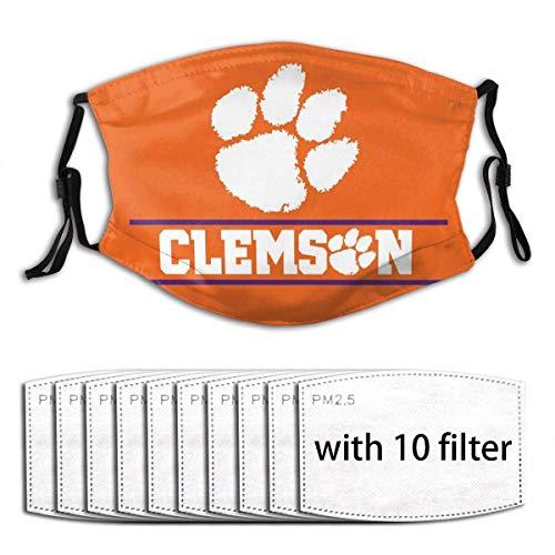 Clemson Tigers Adults Kids Washable Reusable Face Bandanas Balaclava Mask with Adjustable Elastic Strap