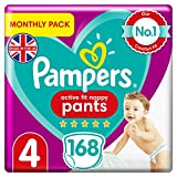 Baby Nappy Pants Size 4 (9-15 kg/20-33 Lb), Active Fit, 168 Count, MONTHLY SAVINGS PACK, Easy-Up Pull On Nappies Size 4 - B08KVCX7ZT