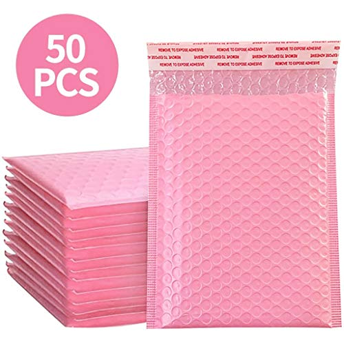 Envelopes Padded Bubble Envelopes Self Seal a4 a5 Plastic Envelopes Bubble Poly mailers for Posting Pink 50pc (Pink, 15cm*18cm)