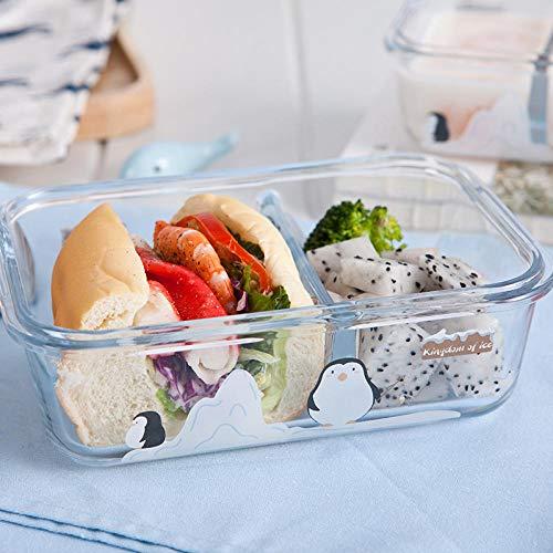 B/H Recipientes Cristal Alimentos,Lonchera de Vidrio Resistente a Altas temperaturas frutero Fresco lonchera-A,Ensalada de contenedores
