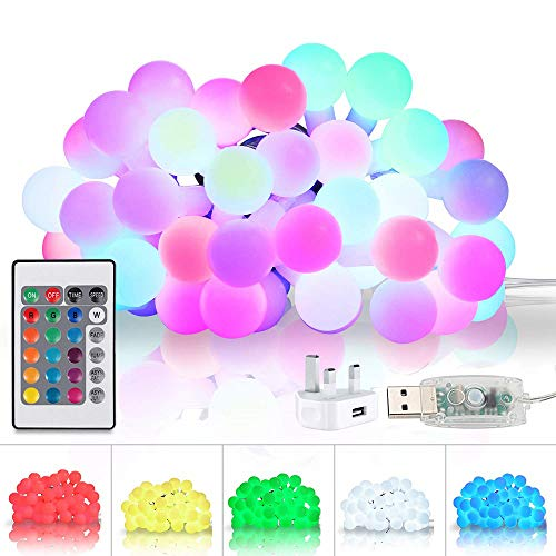 16 Colours Globe String Lights, Waterproof 16.4ft 50 LEDs Ball Fairy Lights USB Plug - in with Remote Timer Silver Wire Festoon Lights for Indoor Outdoor Bedroom Garden Holiday Party Christmas Decor