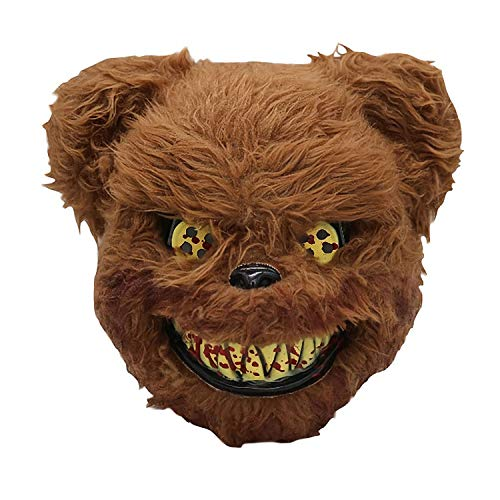 Moonorn Scary Teddy Bear Mask - Evil Bear Mask Halloween Cosplay Costume Party Props Head Mask, One Size Fits Adults and Kids