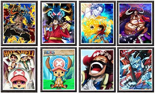MS Fun Anime-Poster Luffy Jinbei Chopper Kaido, Leinwand-Kunstdrucke, Dekoration, ohne Rahmen, 20,3 x 25,4 cm, 8 Stück