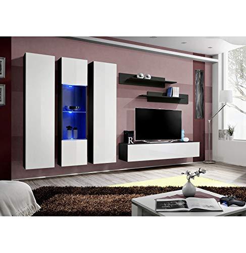 Banc TV avec LED - 6 éléments - Blanc et noir