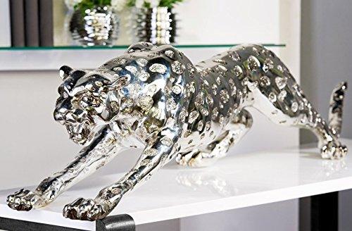 DAFLOXX XXL Gepard 145cm Silber aus Poly Leopard Tiger Panther Chrom Dekoration
