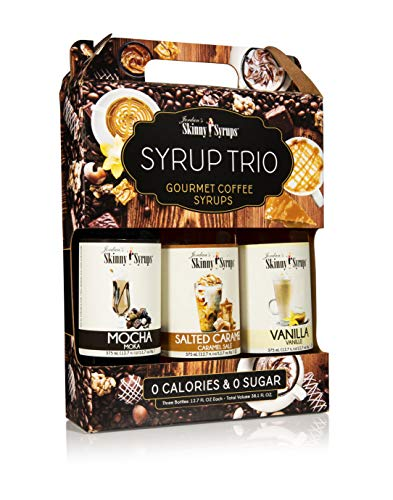 Jordan's Skinny Mixes Classic Coffee Syrup Trio Sugar Free 3 Pack Salted Caramel, Vanilla, Mocha (3) 12.7 oz Bottles