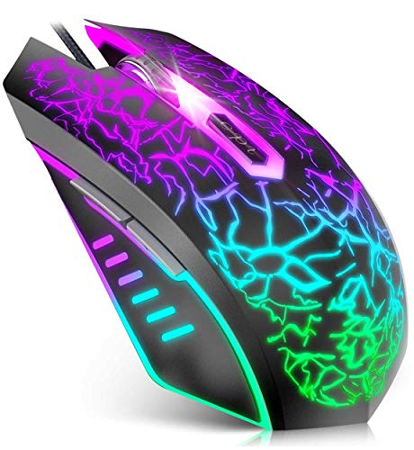 VersionTECH. Wired Gaming Mouse, Ergonomic USB Optical Mouse Mice with Chroma RGB Backlit, 1200 to 3600 DPI for Laptop PC Computer Games & Work –Black