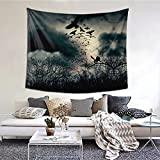 Night Crow Printing Tapestry Wall Hanging For Bedroom, Living Room, Dorm,College Home Horizontal Version (60 X 51 Inches)