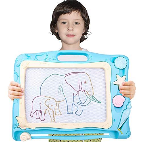 Automoness Magnetische Maltafel für Kinder, Reisegröße Magnettafel Zaubertafel Zaubermaltafel Zeichentafel Zeichenbrett mit 3 Magnetische Stempel und Magnetschreibstift Kindergeschenk (Blau)