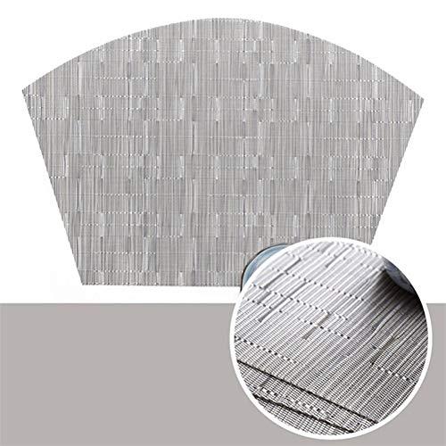 LZZR Bamboo Tischset Fächerförmiger Esstisch Mat Coaster PVC Disc Pads Bowl Coasters Einzelplatte Bar Küche Couchtisch Mat (Color : Silver)