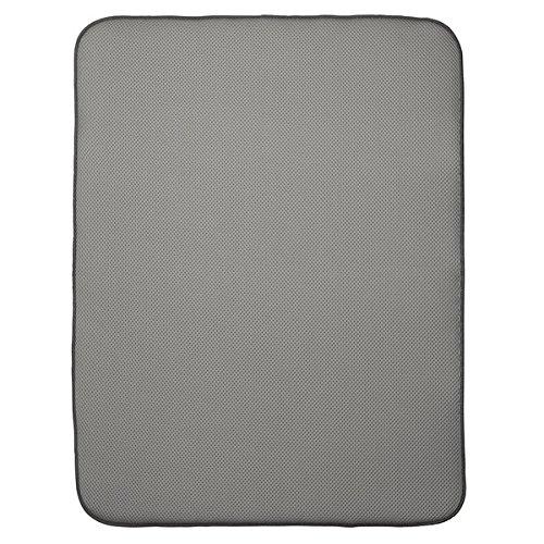 InterDesign iDry Tapete de cocina, alfombrilla escurreplatos extragrande y gruesa de poliéster y microfibra para un secado rápido, Gris