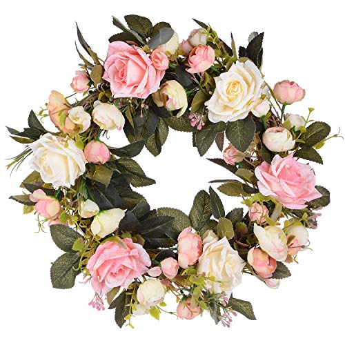 25 Inch Decorative Pink Roses Green Leaves Artificial Wreaths Rose Flower Swag