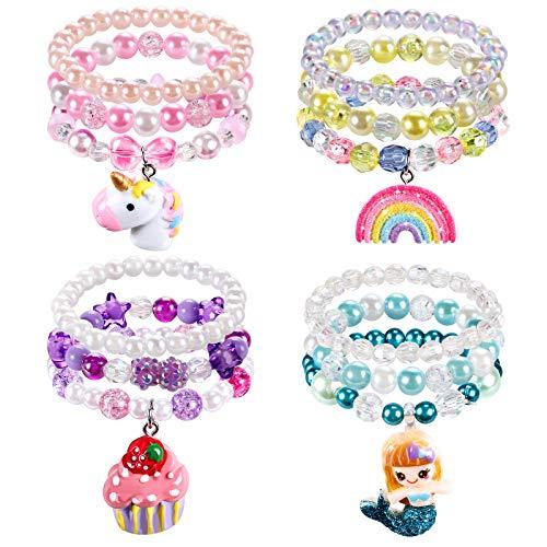 Toyssa 12 Pezzi Braccialetti Bambina Ragazza Braccialetti con Perline Principessa Bracciali Braccialetti Amicizia Perle Bracciali per Festa di Compleanno Regalo Gioielli Ragazza