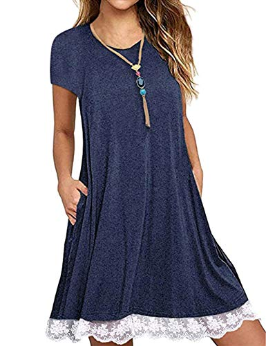 Halife Women Summer Tunic Dress Round Neck Casual Loose Flowy Swing Shift Dresses Navy Blue,S