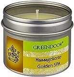 Greendoor Natur Massagekerze Golden SPA 100 ml, BIO Sojawachs + Bio Babassu entspannende ätherische Öle, vegan rußt nicht, natürlich ohne Tierversuche, Weihnachten Geschenke Massage-öl Naturkosmetik