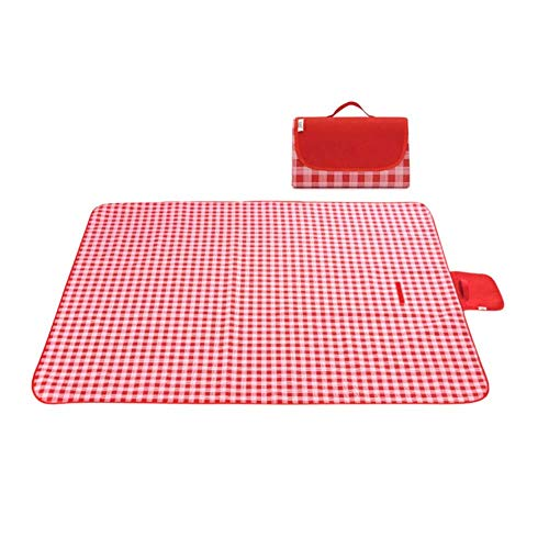 FGHCHMY Manta de Picnic Impermeable Ligera y portátil Manta de Exterior Manta de Regalo Alfombra de Picnic Plegable 200 * 195CM Color múltiple Opcional (Color: Rojo)