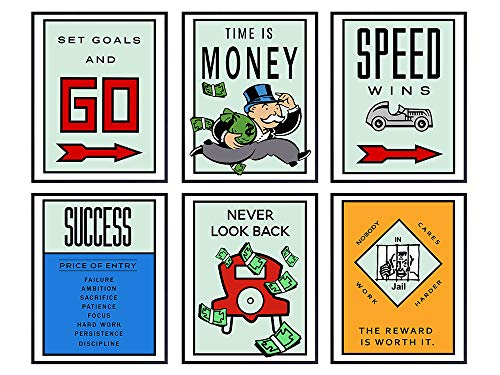 Motivational Monopoly Office Decor Wall Art Set - Great Gift for Executive, Entrepreneur, Team Leader, Manager - Inspirational Room Decoration for Home or Apartment - 8x10 Contemporary Poster Pictures