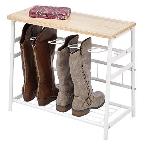 mDesign Zapatero de madera y metal – Organizador de zapatos para 3 pares de botas – Mueble zapatero con espacio para libros y decoración – blanco y natural