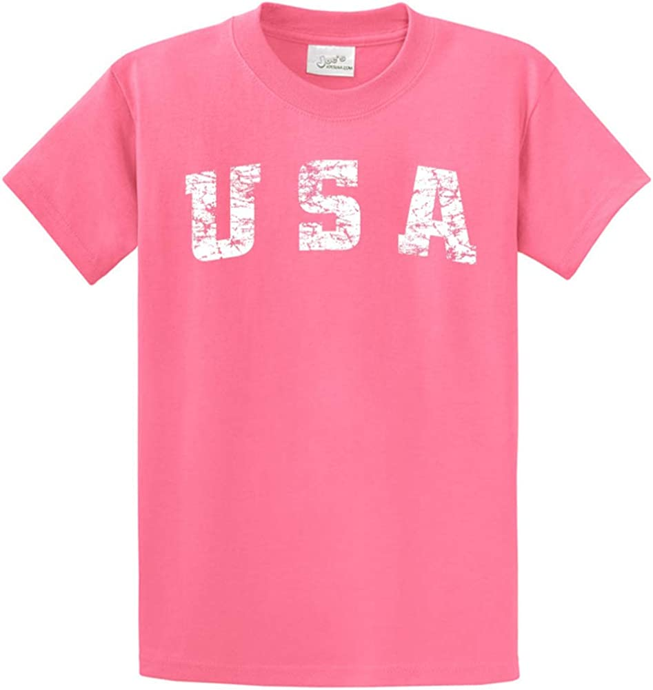Joe's USA -Tall Vintage USA Logo Tee T-Shirts in Size 4X-Large Tall -4XLT Candy Pink