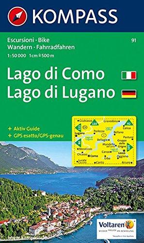 Kompass Karten, Lago di Como, Lago di Lugano: Wandelkaart 1:50 000 (KOMPASS-Wanderkarten, Band 91)