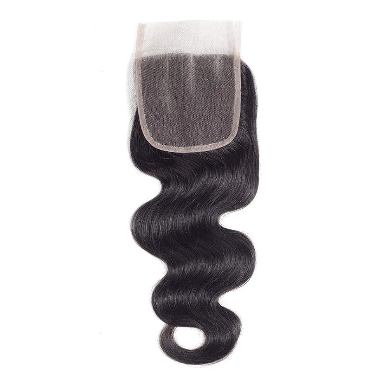 以降克服するスポーツをするHOHYLLYA ブラジル実体波巻き毛4 x 4インチレース閉鎖無料部分100%本物の人間の髪の毛の自然な色(8インチ-20インチ)長い巻き毛のかつら、 (色 : 黒, サイズ : 16 inch)