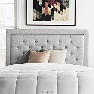 LUCID Upholstered Headboard with Diamond (Queen, Stone)