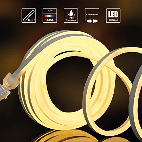 Maycho LED Lichtschlauch 5m LED-Stripe warmweiß LNW01DE, je Meter 120LEDs, 2835 leds wasserdicht Ip68, 16.4FT/5Meters 3000K warmes Weiß band, Anschluss: Deutscher Stecker