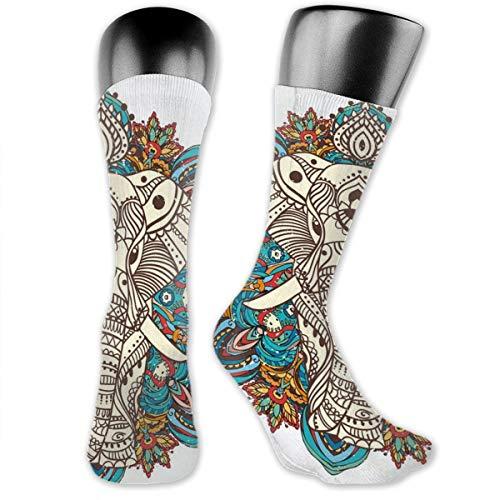 Compression Medium Calf Socks,Spirit Animal Guardian Of Building Ethnic Belief Seven Royal Symbols Print