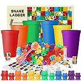 king do way 118 pcs Compter Les Ours jouet éducatif, jouet multicolore, jouet bois arc-en-ciel pour Comptage et Tri Numéros d'Acte avec Tasses Apprentissage Montessori la motricité fine pour Enfants