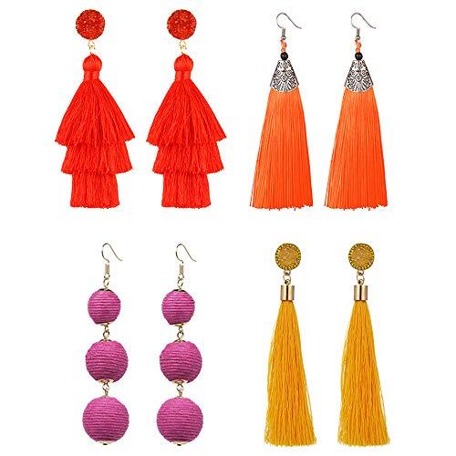 4 pares pendientes de borla para las mujeres largo colorido en capas bola de hilo cuelga los pendientes amarillo rojo joyería de moda regalos de cumpleaños de san valentín navidad