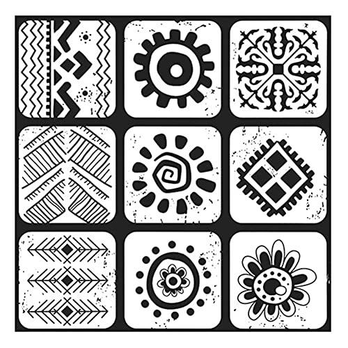 WDSWBEH Azulejos Decorativos De 4 Piezas 23,6 * 23,6 Pulgadas, Azulejo De Cerámica De Mosaico De Mezcla De Patrón Español Pintado a Mano para Pared De Piso Baño Cocina Dormitorio,F614