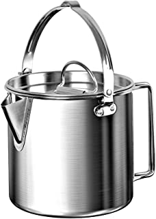 Chihee Camping Kettle Stainless Steel Outdoor Cooking Kettle 1.2L Lightweight Compact Camping Pot Teakettle Hiking Backpacking Picnic