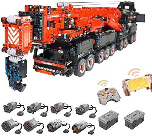 Foxcm Technik Kran LKW, Technic Mobiler Schwerlastkran, Groß MOC Ferngesteuert Autokran mit 8 Motoren, 7986 Teile Bausteine Kompatibel mit Lego Technik