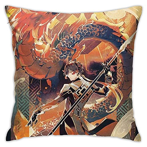 Lsjuee Gen-shin Im-Pact Throw Pillowcase Anime Pillow Cover 18x18 Inches