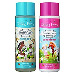 Award-winning Childs Farm shampoo and conditioner in strawberry and organic mint Paediatrician and Dermatologist tested and approved Suitable for sensitive skin and safe for those who may be prone to eczema Suitable for newborn and upwards