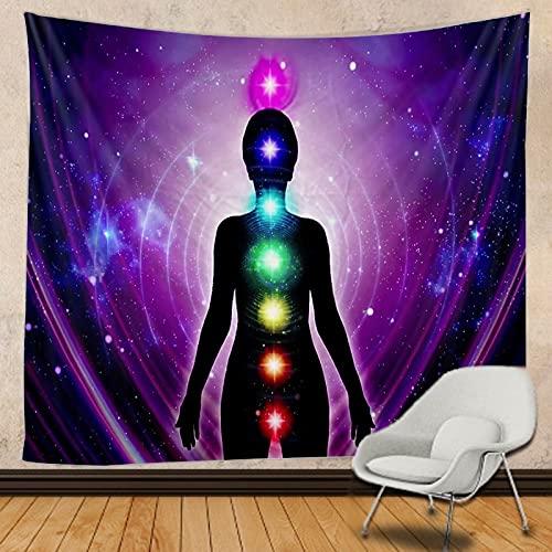 Yoga Meditación Chakra Tapiz Mandala Hippie Tapiz de encaje Montaje en pared Decoración bohemia Psicodélico Brujería Tapiz A2 150x200cm