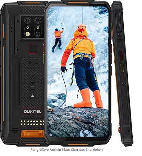 Outdoor Smartphone Ohne Vertrag, OUKITEL WP7 Outdoor Handy, 6,53 Zoll Android 9.0 Dual SIM 4G IP68/IP69K Robustes Smartphone, 8GB +128GB Helio P90, 8000mAh 48 MP AI-Dreifachkamera, NFC (Orange)