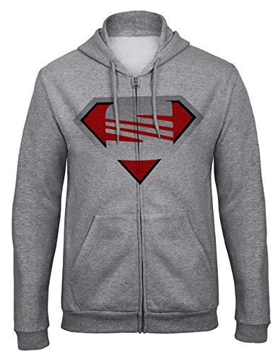 SEAT T Shirt Superman Cupra Leon Ibiza Toledo Funshirt Kapuzenpullover Hooded Sweatjacken mit Full Zip Reißverschluss -9312 (L)