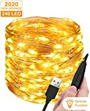 Luces Navidad USB 24M 240 LED, Litogo Regulable Guirnaldas Luces LED Decoracion Impermeable Cadena de Luces LED Decorativas para Habitacion Arbol Navidad Interior y Exterior, Boda, Fiesta, Balcón