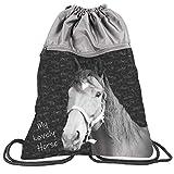 PASO - Borsa sportiva per bambini con cavallo, 43 x 34 cm, (My Lovely Horse – Grigio.), 43 x 34 CM